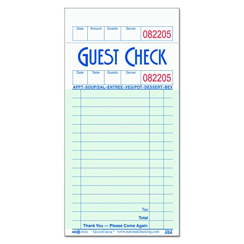 National Checking Company G3616 GuestChecks Pad w/Record Receipt Stub, 3 1/2 x 6 3/4, 100 Per Pad (Case of 50 Pads)