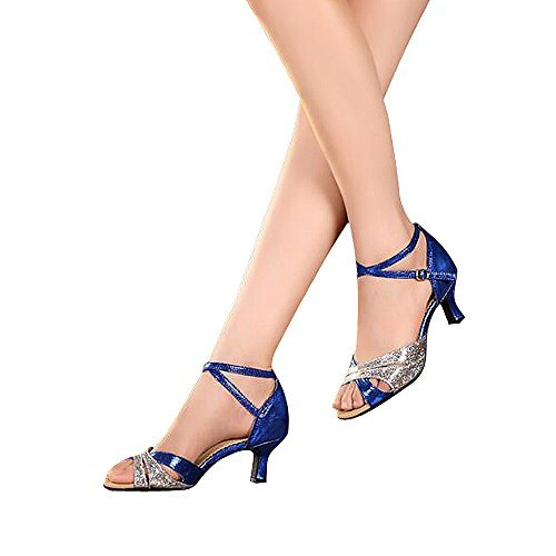 Women's Latin dance shoes with soft sole female Latin sandals Ballroom Dance Shoes (9 B(M) US, blue)