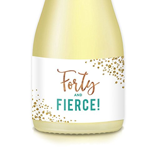 HAPPY 40th BIRTHDAY Party Ideas Decorations for Women, Set of 20 Mini Champagne, Wine Bottle Labels 40 & Fierce Decals 3.5