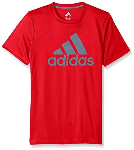 Large Product Image of adidas Big Boys' Short Sleeve Logo Tee Shirt, Vivid Red, Large