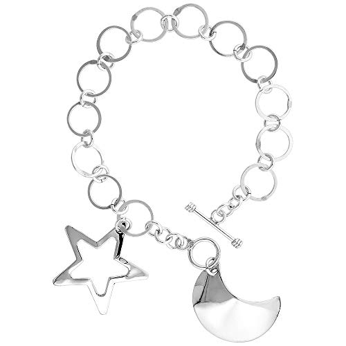 Sterling Silver Star and Crescent Moon Round Link Toggle Charm Bracelet, 7.5 inches Long