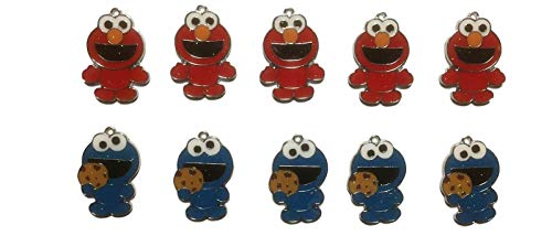 (New Horizons Production Cookie Monster & Elmo Characters Set of 10 DIY Charms Pendant)