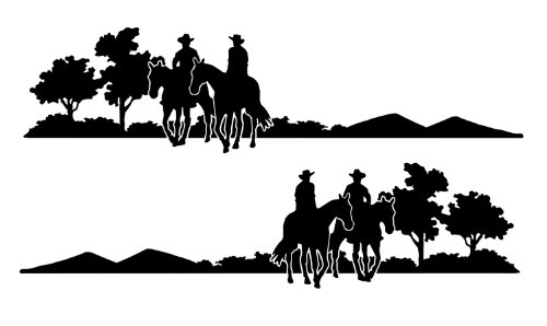 Decal Graphic Kit, Both Sides Left & Right - Trail Riders For Cowboy Cowgirl Country Girl Ranch Truck, 4x4 Or Horse Trailer - 10 1/2 x 41 1/2 inches In Black