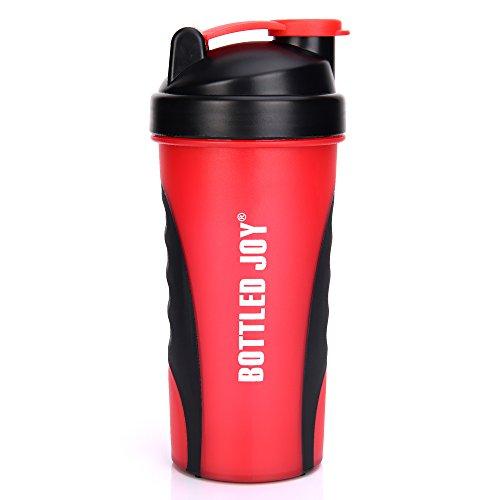 BOTTLED JOY Protein Shaker Bottle, Non-toxic Wide Mouth 100% Leak Proof Shake Water Bottles 23oz 700ml (Dark Red)
