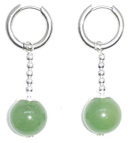 (TamaShop Green Jade Dragon Ball Potara Earrings w/ Easy to Open/Close Hoop)