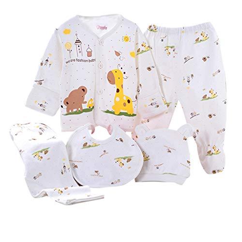 Sikye 5Pcs Newborn Baby Gift Outfit Set Newborn Girl Boy Cartoon Lovely Button Top + Hat + Bib + 2PC Pants 0-3 Months (B) ()