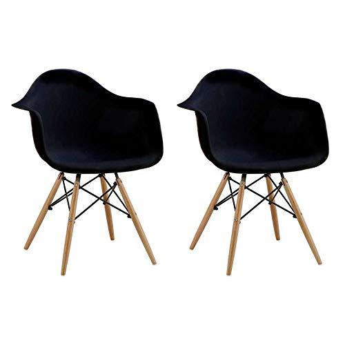 Conjunto com 2 Cadeiras Eames Eiffel com Braço Preto Base Madeira