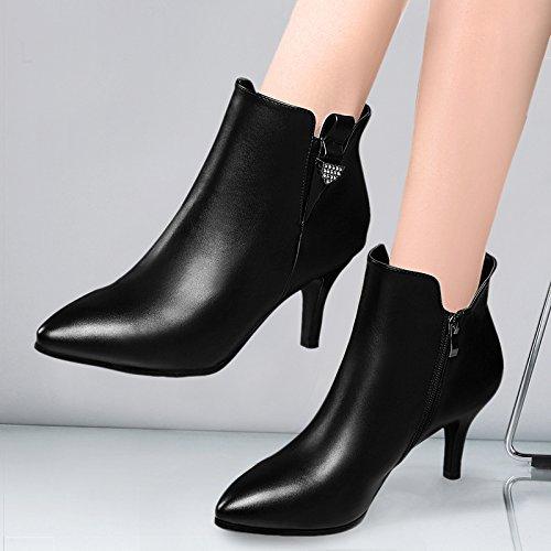Y Cuero Impermeables Zapatos KHSKX De four Zapatos Fino Tacón Otoño Thirty Damas Talón Señaló De Damas Zapatos MujerBlackCuarenta Zapatos qxFvYP4x