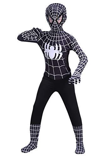 Newhui Teens Kids Halloween Spider Black Lycra Zentai Costume Bodysuit Cosplay Mask ()