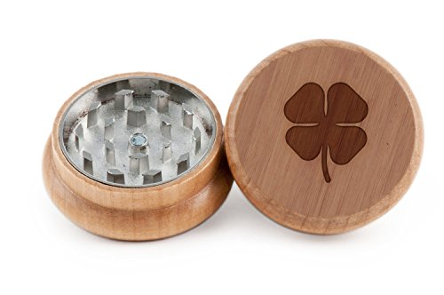 Four Leaf Clover Herb and Weed Grinder - 2 Piece Wood Grinder with Laser Etched Designs - Made with Oak (2 Inches) (4 Piece Wood Herb Grinder compare prices)