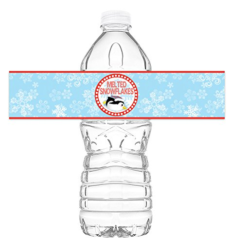 Winter Wonderland Bottle Wraps - 20 Winter Wonderland Water Bottle Labels - Winter Wonderland Penguin Decorations - Made in the USA