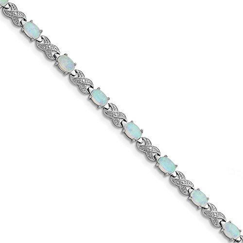 Illusion Iced - 925 Sterling Silver 7inch Created Simulated Simulated Opal and Illusion Bracelet -7