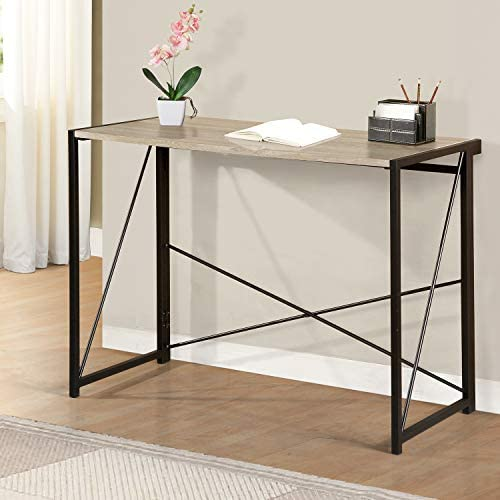 SEATZONE Foldable Writing Desk Home Office Study Table Modern Simple Wood Desk 40 Inche