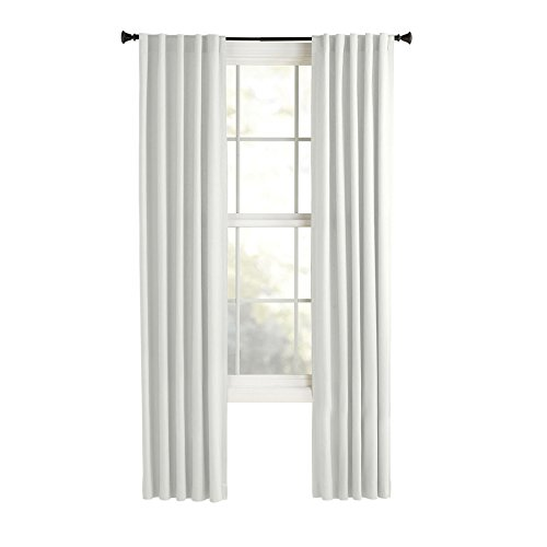 Style Selections Bernard 84-in White Polyester Back Tab Light Filtering Single Curtain Panel