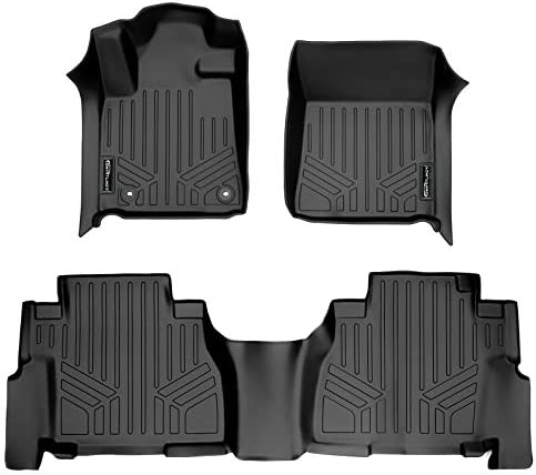 MAXLINER Floor Mats 2 Row Liner Set Black for 2012-2021 Toyota Sequoia with 2nd Row Bench Seat