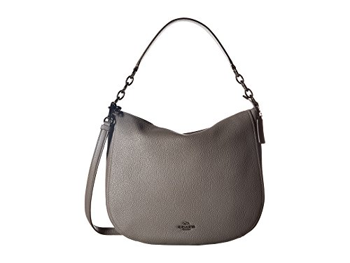 COACH Women's Polished Pebbled Leather Chelsea 32 Hobo Dk/Heather Grey One Size ()