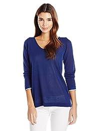 NYDJ suéter de Cuello en V para Mujer con Espalda superpuesta