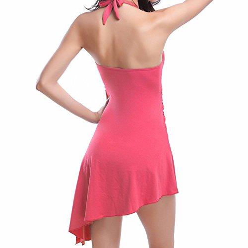 Sidiou Group 5 Bañador de mujer, una variedad de nuevos bañadores de una pieza, traje de baño de 90% poliéster, Falda combinada / bañador de playa rosado