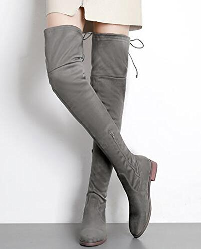 Heels Thigh Knee Over High Stretchy Suede Sexy Zipper IDIFU Boots Chunky Womens Gray Booties With Low Faux wIxq7Bg