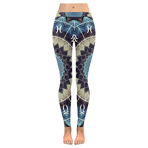 INTERESTPRINT Magic Circle Zodiacs Stretchy Capri Leggings Pants for Yoga Running Gym M