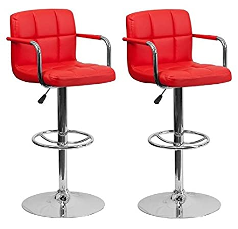 Fabulous South Mission Chic Elite Modern Adjustable Synthetic Leather Bar Stools High Back Armrest Set Of 2 Red Lamtechconsult Wood Chair Design Ideas Lamtechconsultcom