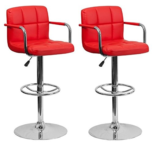 Chic Elite Modern Adjustable Synthetic Leather Bar Stools | High-back armrest | Set of 2 (Red) - Cherry Wicker Bar Stool