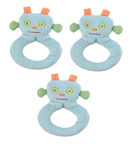 Angel Dear 3 PCS Ring Rattles Set, Blue Robot