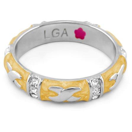 Lauren G Adams Rhodium-Plated Stackable Elegant Hugs Ring with Enamel