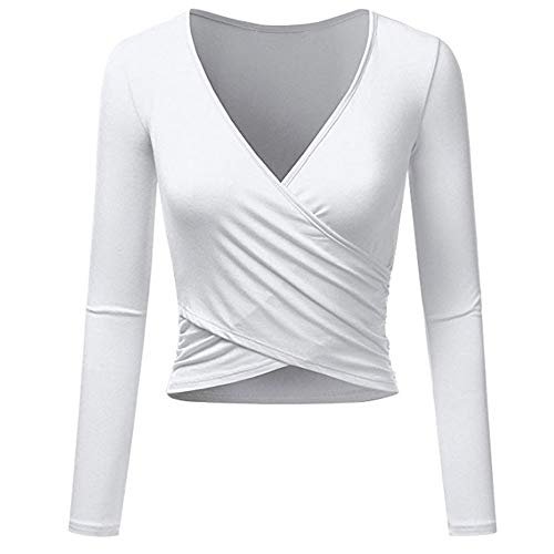 Long Spandex Sleeve Wrap (Eleangel Women's Long Sleeve Wrap Crop Tops Deep V Neck Designed Slim Fit Coss T Shirts (M, White))