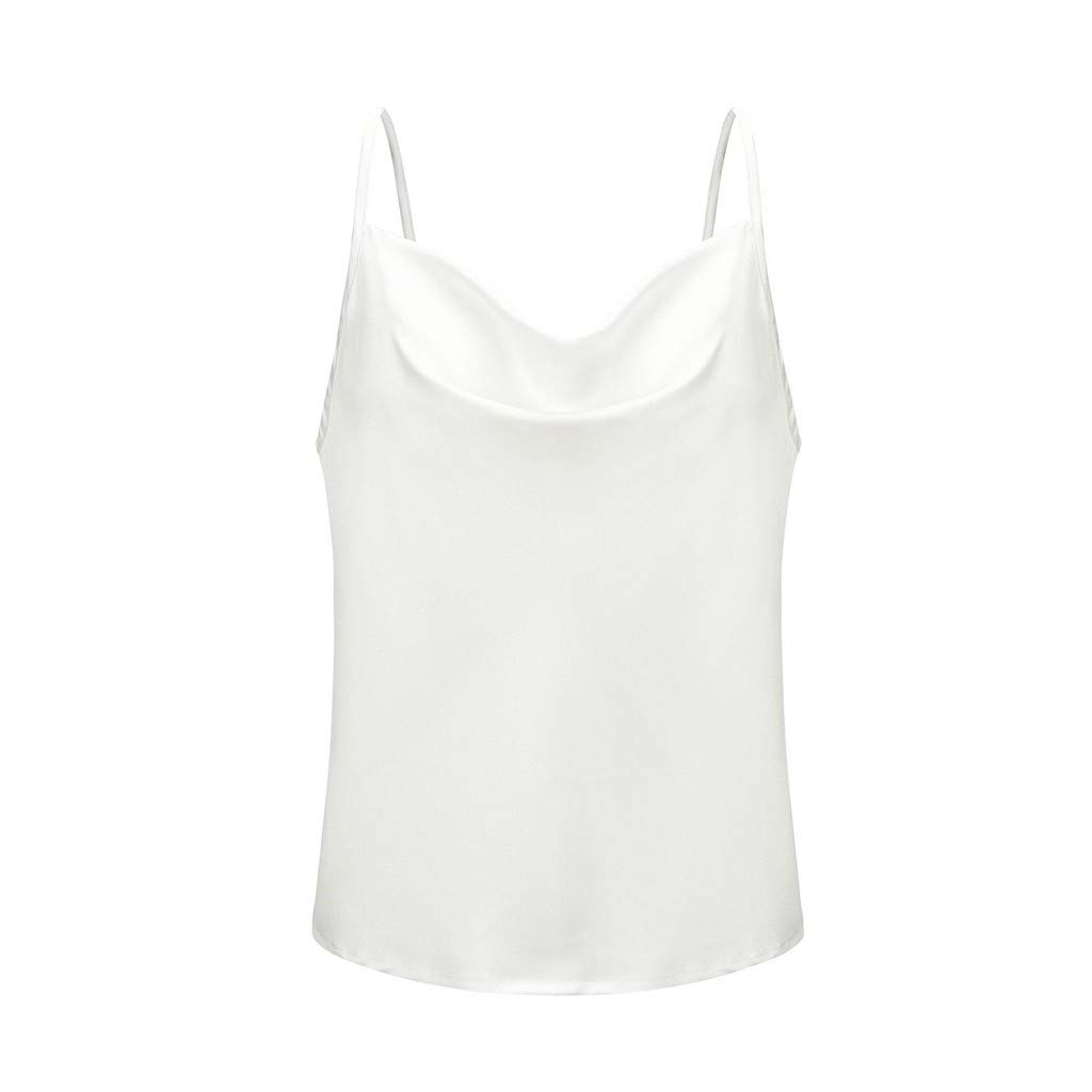 Women Stain Sleeveless Cami Tops Spaghetti Strap Cowl Neck Ruched Tank Tops Comfy Breathable T-Shirt 2019 Summer Casual Basic Tee Swing Blouse