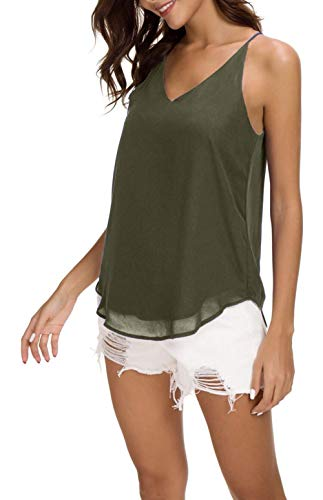 Evera B Women's V-Neck Chiffon Spaghetti Strap Cami Top (Medium, Adj Strap Olive)