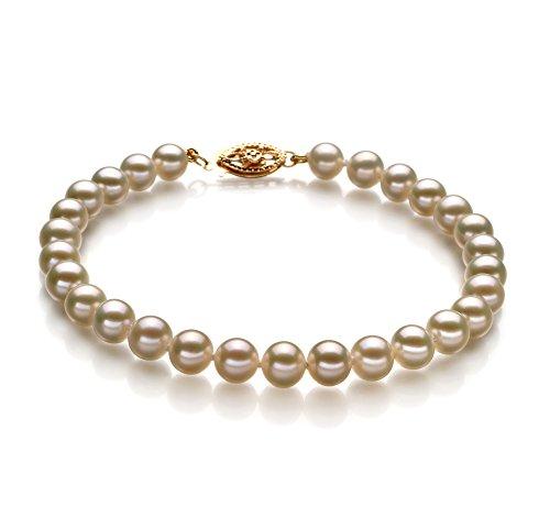 Blanc 5-5.5mm AAAA-qualité perles d'eau douce 375/1000 Or Jaune-Bracelet de perles