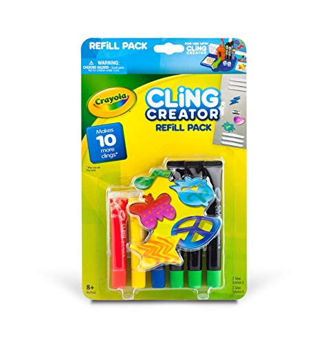 Crayola Cling Creator Refill Pack Refill Set Cling Creator Set with Enough Materials to Make 10 Additional Clings , Create Custom Colorful Window Clings, Arts & Crafts Gift for Kids 8 & Up