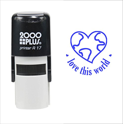 Love This World (Earth Day) 2000 Plus Self Inking Rubber Teacher Stamp – Blue Ink - 2000 Plus Self Inking Stamps