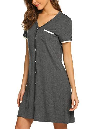 (Ekouaer Nightdress Womens Cotton Sleepwear Short Nightgowns Sleepshirts Gray M)