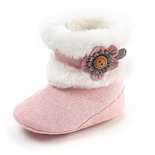 SOFMUO Baby Girls Boys Plush Snow Boots Soft Sole Anti-Slip