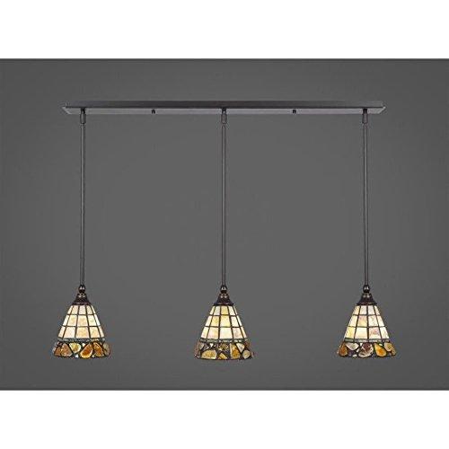 Mini Pendant Cobblestone - Toltec 3 Light Multi Light Mini Pendant with Hang Straight Swivels in Dark Granite with 7