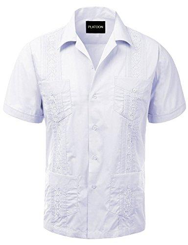 Platoon Guayabera Short Sleeve Mens Cuban Shirt Wedding Cigar Beach Bartender (L, White)