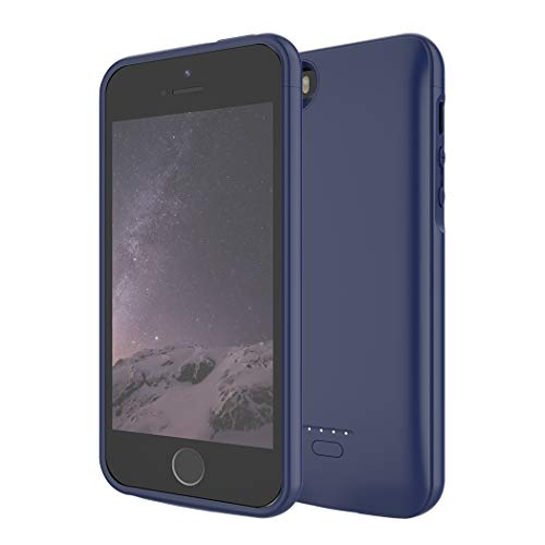 Battery Case for iPhone 5/5S/SE,FNSON 4000mAh Portable Charger Case Upgraded Version Extended Battery Pack Protective Backup Charging Case for iPhone 5/5S/SE Power Bank- Blue