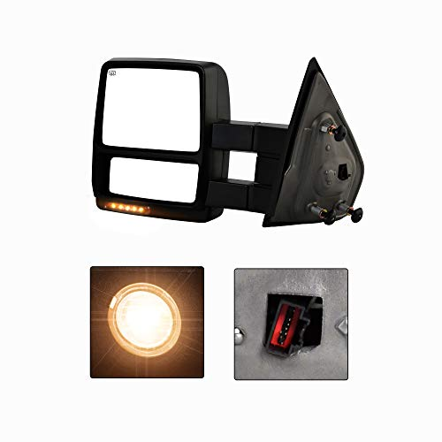 (Make Auto Parts Manufacturing - New Textured Black Driver Side Power Operated Heated Turn Signal Manual Folding w/Puddle Light Towing Mirror for Ford F150 2004-2006 - FO1320321,)