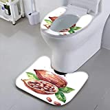 Jiahonghome Toilet seat Cover Drawn Cocoa pod Isolated Organic Natural eco on White Background Soft Non-Slip Water
