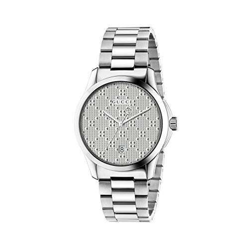 Gucci Men's Swiss Quartz Stainless Steel Dress Watch, Color:Silver-Toned (Model: YA126459)