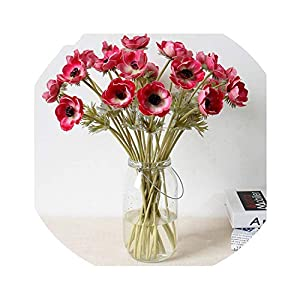 7PCS Artificial Anemones Flowers Real Touch Branches Burgundy Center for Wedding Bouquets Centerpieces DIY Home Decoration 6