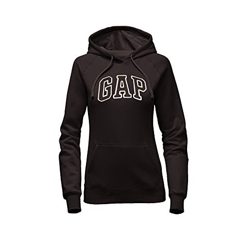(GAP Women's Pullover Fleece Logo Hoodie (Medium, Black))