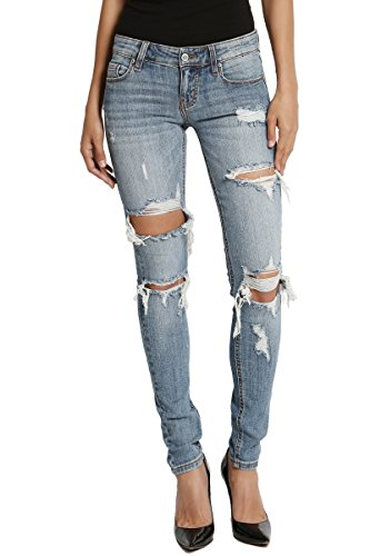 TheMogan Women's Heavily Distressed Holes Denim Low Rise Skinny Jeans Medium ()