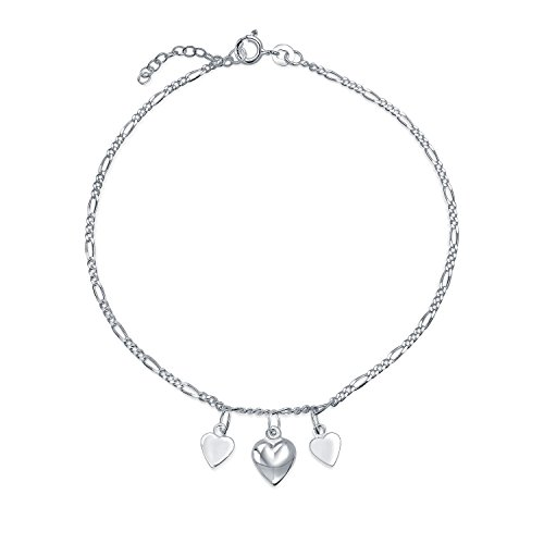 3 Multi Hearts Dangle Charms Anklet Ankle Bracelet For Women 925 Sterling Silver Adjustable 9 To 10 Inch With - Heart Triple Anklet