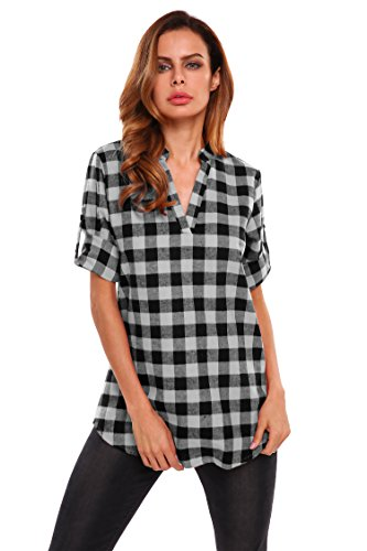 (Meaneor Women's Cuffed Short Sleeve V-Neck Pullover Plaid Top T-Shirt Blouse)
