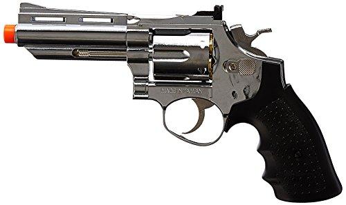 BBTac BBTac-HG-132-Silver HFC Barrel Gas Revolver Airsoft Gun, Silver Chrome, 4-Inch