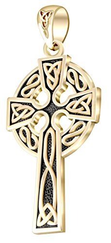 14k Antique Cross - US Jewels And Gems Mens 14k Yellow Gold 1.625in Irish Celtic Knot Cross Pendant Antique Finish