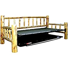 Lacquer Finish Hand-Peeled Rustic Day Bed w/Trundle